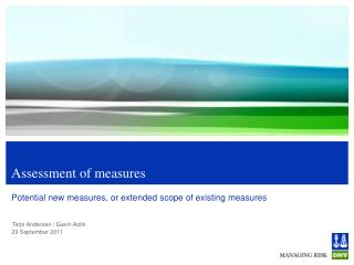 Assessment of measures