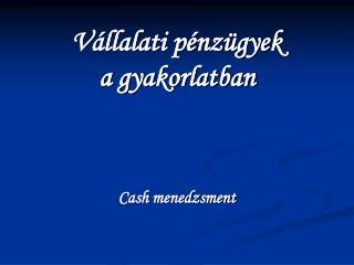 V llalati p nz gyek a gyakorlatban     Cash menedzsment