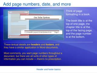 Add page numbers, date, and more