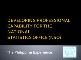 DEVELOPING PROFESSIONAL CAPABILITY FOR THE NATIONAL  STATISTICS OFFICE NSO