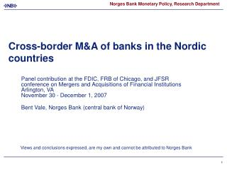 Cross-border MA of banks in the Nordic countries