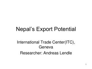 Nepal s Export Potential