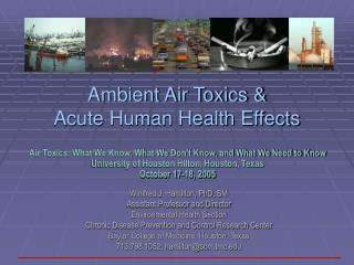 Ambient Air Toxics   Acute Human Health Effects