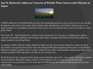 Jan M. Berkowitz Addresses Concerns of Potable Water Sources