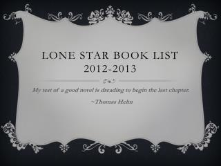 Lone Star Book List 2012-2013