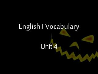 English I Vocabulary