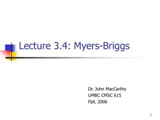 Lecture 3.4: Myers-Briggs