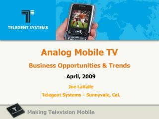 Analog Mobile TV Business Opportunities  Trends