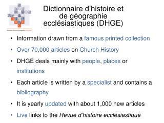 Dictionnaire d histoire et  de g ographie  eccl siastiques DHGE
