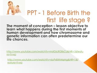 PPT - 1 Before Birth the first  life stage