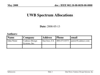 UWB Spectrum Allocations