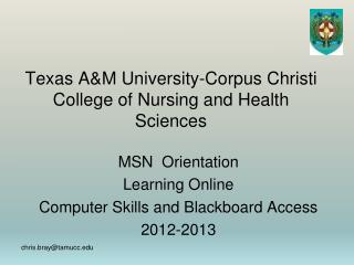 Texas AM University-Corpus Christi College of Nursing and Health Sciences
