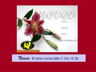 Nunca:  El amor nunca falla 1 Cor 13, 8.