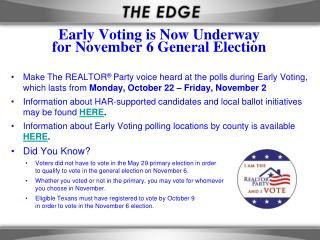 Early Voting is Now Underway for November 6 General Election