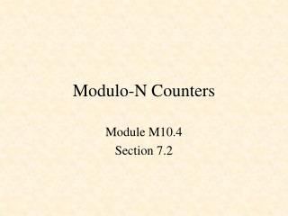 Modulo-N Counters