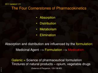 The Four Cornerstones of Pharmacokinetics
