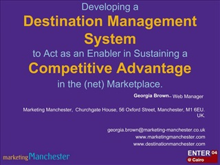 Developing a  Destination Management System  to Act as an Enabler in Sustaining a  Competitive Advantage in the net Mark