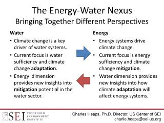 The Energy-Water Nexus Bringing Together Different Perspectives