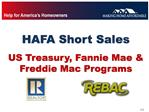 HAFA Short Sales   US Treasury, Fannie Mae  Freddie Mac Programs