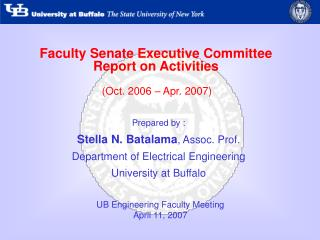 Faculty Senate Executive Committee Report on Activities