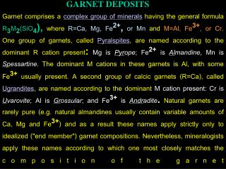 GARNET DEPOSITS
