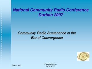 National Community Radio Conference Durban 2007
