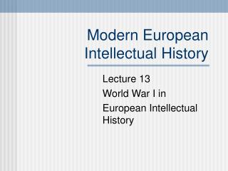 Modern European Intellectual History