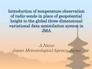 Introduction of temperature observation of radio-sonde in place of geopotential height to the global three dimensional v