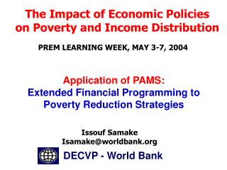 Application of PAMS: Extended Financial Programming to Poverty Reduction Strategies