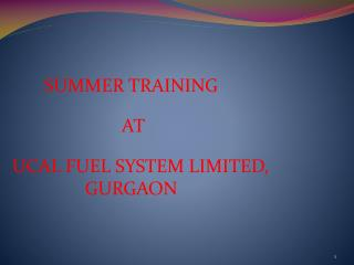SUMMER TRAINING   AT      UCAL FUEL SYSTEM LIMITED, GURGAON