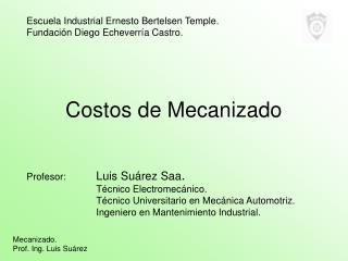 Costos de Mecanizado
