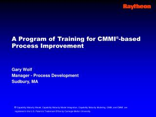 A Program of Training for CMMI-Based Process Improvement