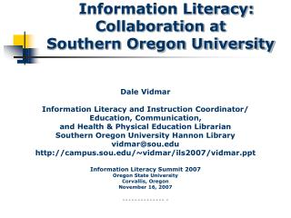 Information Literacy: Collaboration at Southern Oregon University
