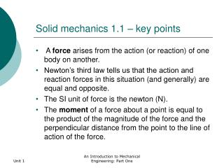 Solid mechanics 1.1   key points