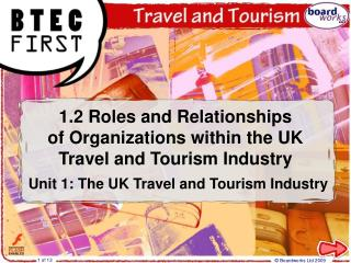 1.2 Roles and Relationships of Organizations within the UK Travel and Tourism Industry Unit 1: The Travel and Tourism In