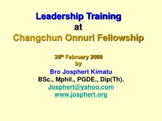 Leadership Training at Changchun Onnuri Fellowship  28th February 2009 by