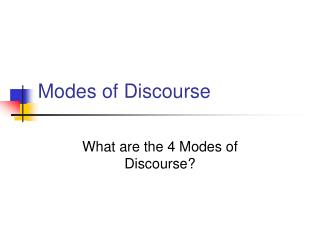 Modes of Discourse