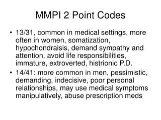 MMPI 2 Point Codes