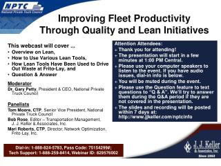 Improving Fleet Productivity Through Quality and Lean Initiatives