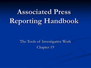 Associated Press  Reporting Handbook