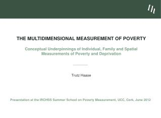 The Multidimensional Measurement of Poverty  Conceptual Underpinnings of Individual, Family and Spatial Measurements of
