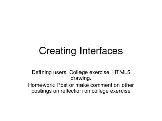 Creating Interfaces