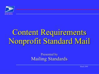 Content Requirements Nonprofit Standard Mail