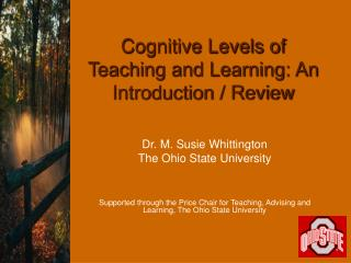 Cognitive Levels of Teaching and Learning: An Introduction