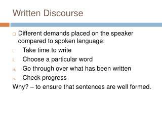 Written Discourse