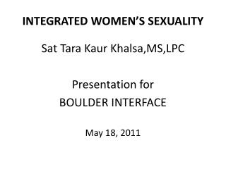 INTEGRATED WOMEN S SEXUALITY