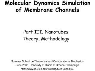Molecular Dynamics Simulation of Membrane Channels