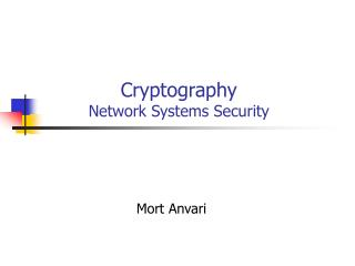 Cryptography  Network Systems Security
