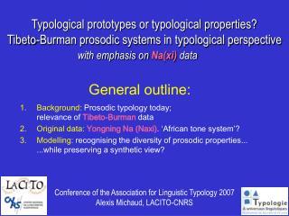 Typological prototypes or typological properties  Tibeto-Burman prosodic systems in typological perspective