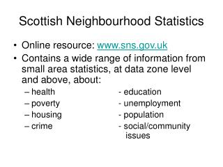 Scottish Neighbourhood Statistics
